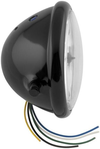 Scrambler Motorcycle style All steel headlight side mount black