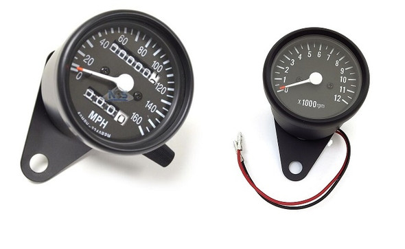 Motorcycle Speedometer / Tachometer Cluster Kit  black mini 2.5 dia.