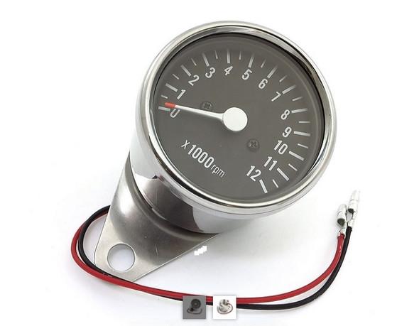 Motorcycle Tachometer chrome mini Dia. 2.5 with bracket (honda, kawasaki, suzuki, yamaha)