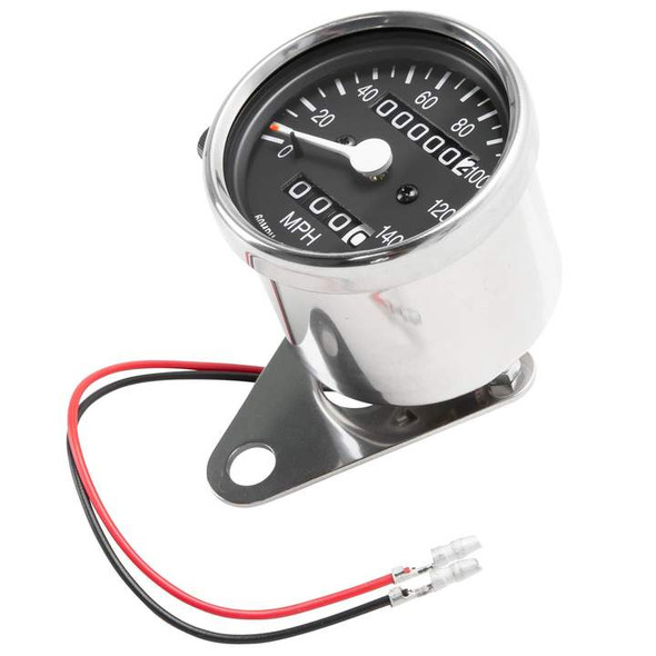 Motorcycle Speedometer chrome mini Dia. 2.5 with bracket (honda, kawasaki, suzuki, yamaha)