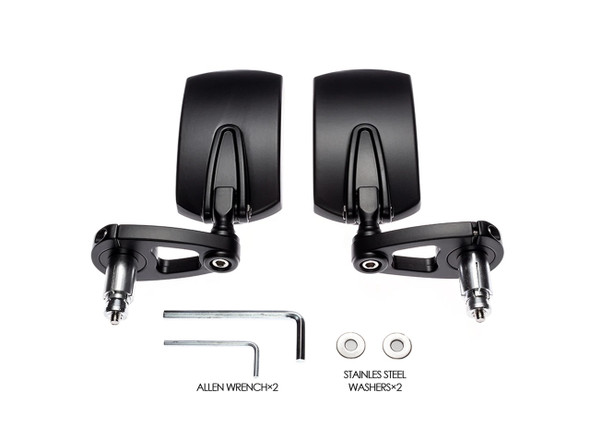 "Rectangular Black Alloy Universal F1 Adjustable Bar End Mirrors Mirror  - Fits 7/8""(22mm) Bars & Renthal HandleBar"