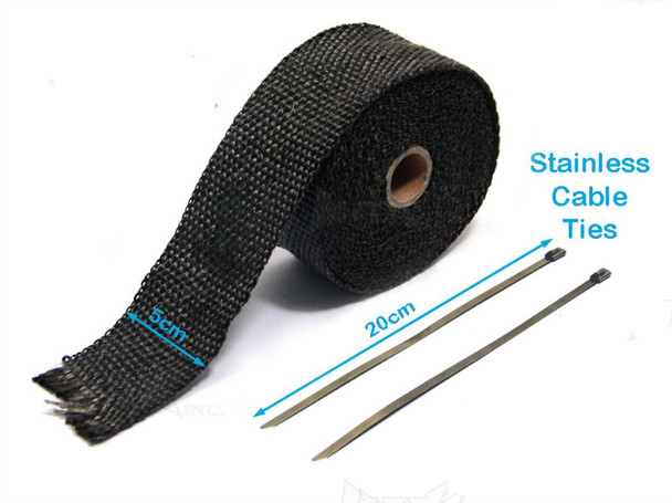 Black Fiberglass Exhaust Heat Wrap - 16ft roll