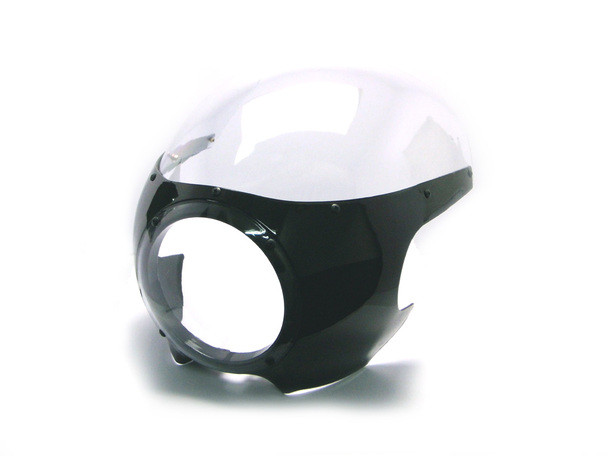 Black Cafe Racer Drag Racer Motorcycle Fairing   Clear Windshield   W/Hardware