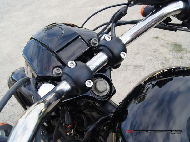 "Matte Black Billet Aluminium Old School Harley Davidson Cafe Racer Risers - 1-1/4"" Motorcycle handlebars"
