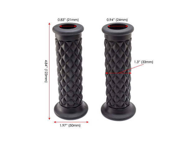 "Black Diamond Cut  Handlebar Grips |  7/8"" (22mm) Motorcycle Grip | Comfy"