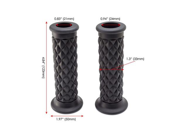 "Black Diamond Cut  Handlebar Grips    7/8"" (22mm) Motorcycle Grip   Comfy"