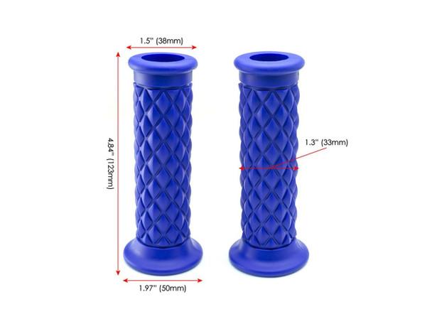 "Blue Diamond Cut Handlebar Grips | 7/8"" (22mm) Motorcycle Grip | Comfy"