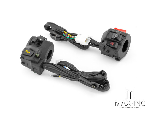 Universal Black ABS Motorcycle Control Switch Set Combo - Fits 22mm Bars