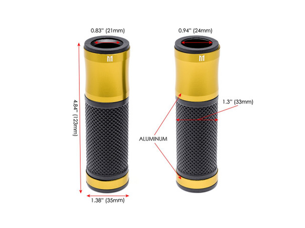 "Retro Gold Anodized CNC Machined Aluminum / Rubber Hand Grips - 7/8"" (22mm)"