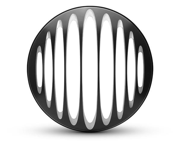 "Prison Grill Design 7"" Black CNC Aluminum Motorcycle Headlight Guard Cover"