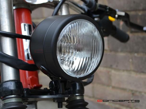 4.5 Matte Black Motorcycle Headlight Metal 12V Cafe Racer Chopper