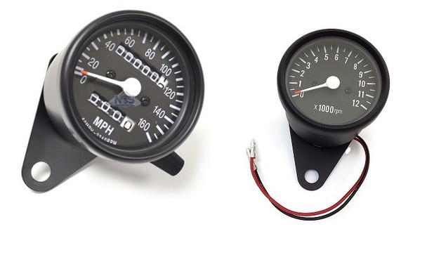 Motorcycle Speedometer / Tachometer Cluster Kit  black mini 2.5 dia.