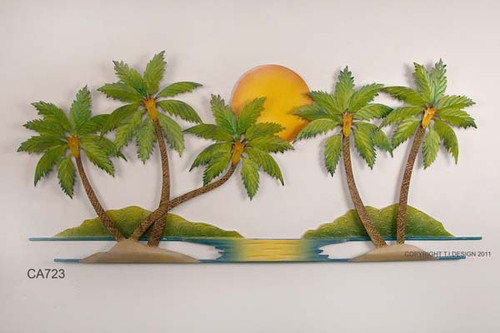 Coconut Palm Tree Oasis Metal Wall Art