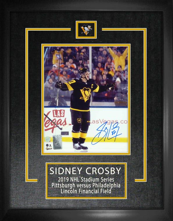 Sidney Crosby Signed 8x10 Etched Mat Penguins Black-V 2019 Stadium Series