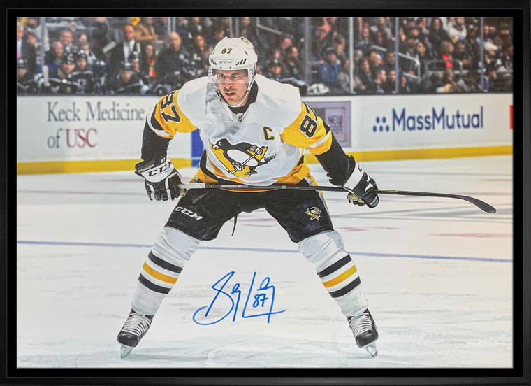 Sidney Crosby Signed 20x29 Canvas Framed Penguins White Leaning