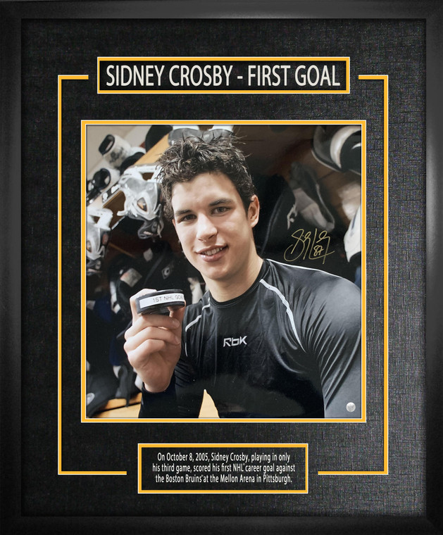 Sidney Crosby Signed 15x16 Etched Mat First Goal