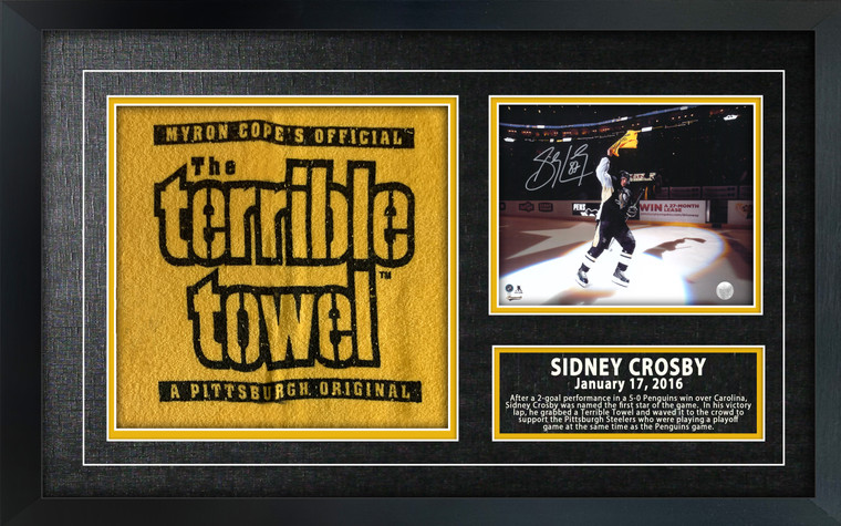 Sidney Crosby Signed 8x10 Etched Mat with a Terrible Towel