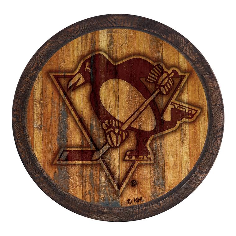 "Pittsburgh Penguins: Branded ""Faux"" Barrel Top Sign"