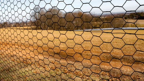 7.5' x 100' Steel Hex Web Blk PVC Coated Fence