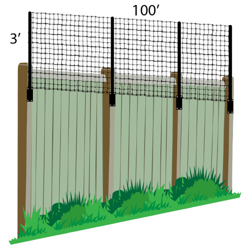 3' x 100' Poly Extension Kit- Add Height To Existing Fence (Wood/PVC/Metal)