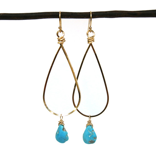 14kgf or Sterling Square Wire Earrings with a gemstone