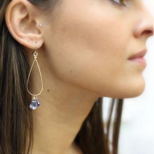Three Stone Polished Loop Earrings
