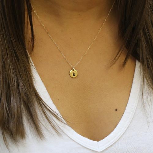 Custom Mini Round Initial Necklace