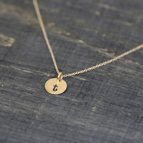 Custom Mini Round Initial Necklace