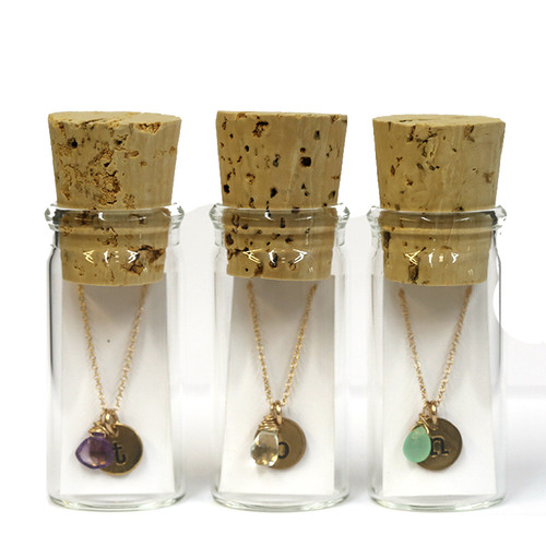 Mini Initial & Gemstone Necklace in a Bottle