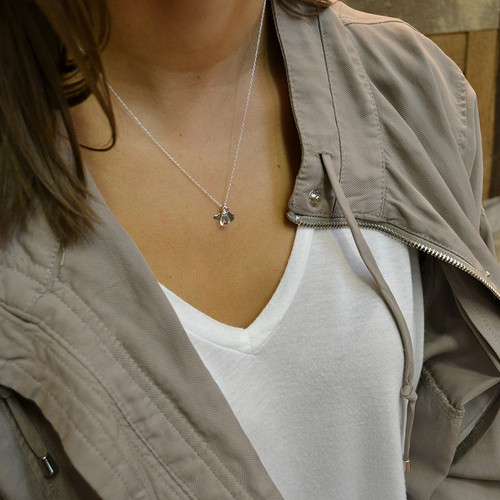 Silver Mini State & Gemstone Necklace
