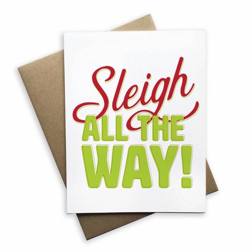Sleigh All The Way Christmas Card  White