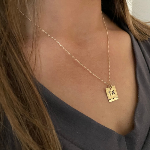TN Dot Square Necklace in a Bottle