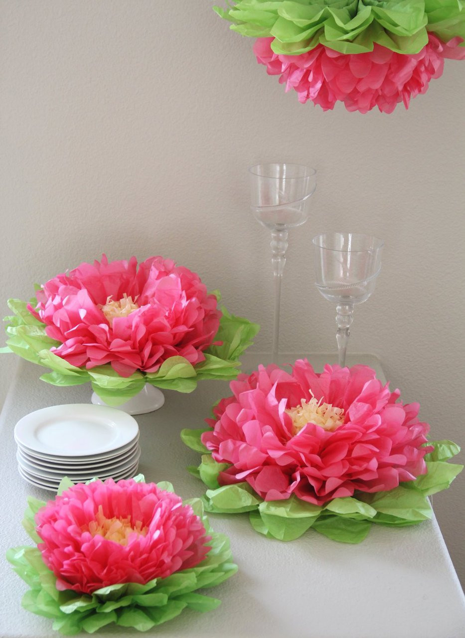 Girls Party Decorations Set Of 7 Melon Pink Tissue Paper Flowers