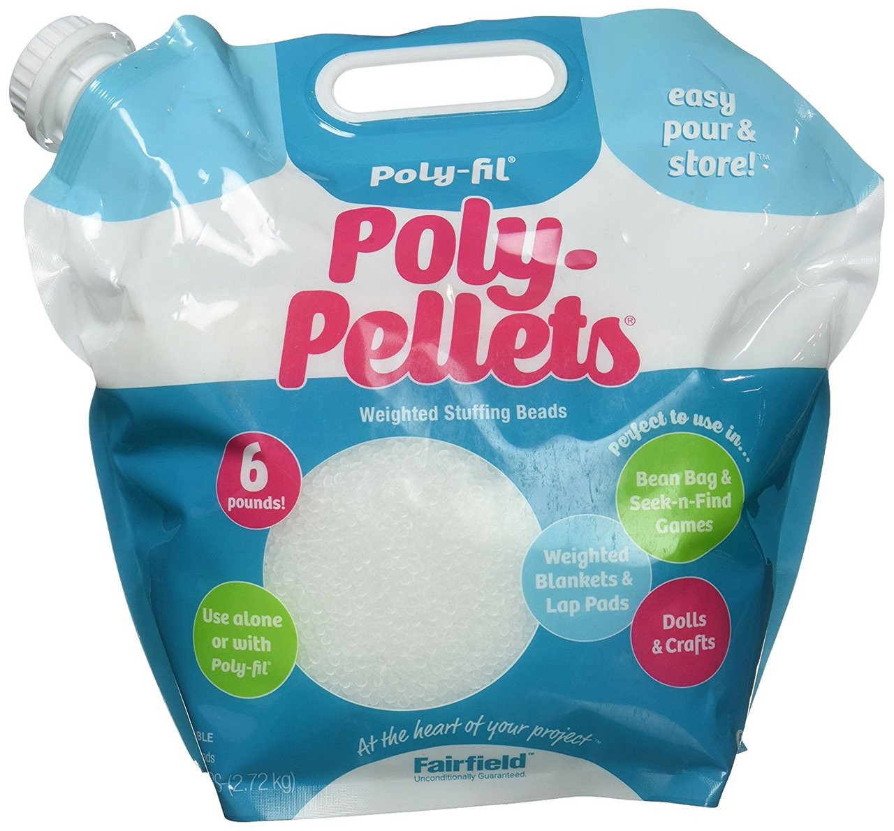 6 Pound Pour and Store Bag Fairfield Fil Poly Pellets Weighted Stuffing Beads White