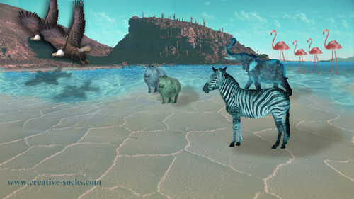 Animals Print: Zebra, Elephant, and Pink Flamingos by Leigh Nelson