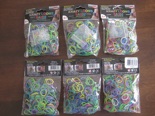 Krazy Looms Bandz: 6 bags of assorted solid colour rubber bands