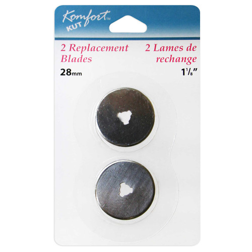 KOMFORT KUT Replacement Blade (2PC) for Rotary Cutter - 28mm in packaging