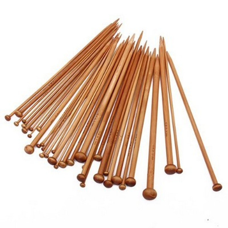 Set of 36 Single Pointed Carbonized Bamboo Knitting Needles of 18 Different Sizes