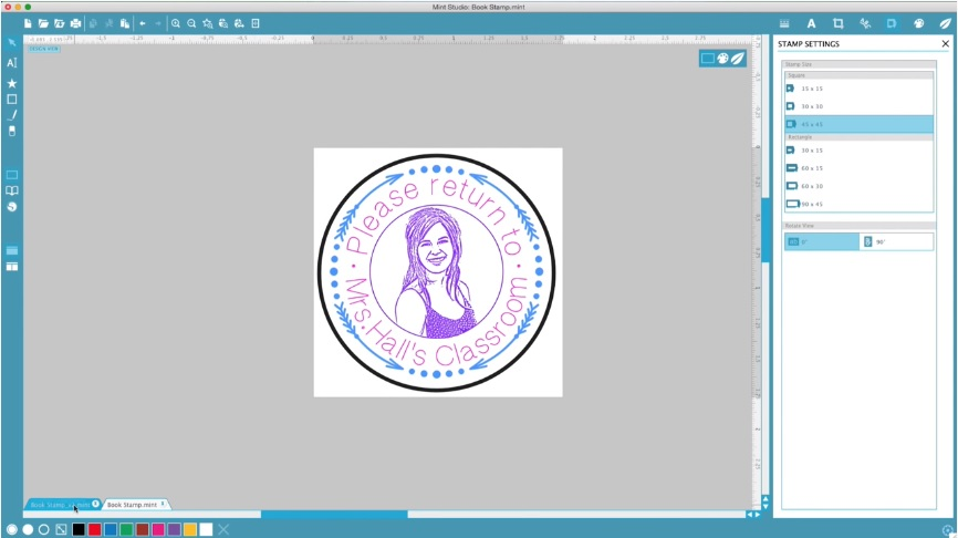 silhouette mint design studio screenshot of a 3 colour stamp of a woman