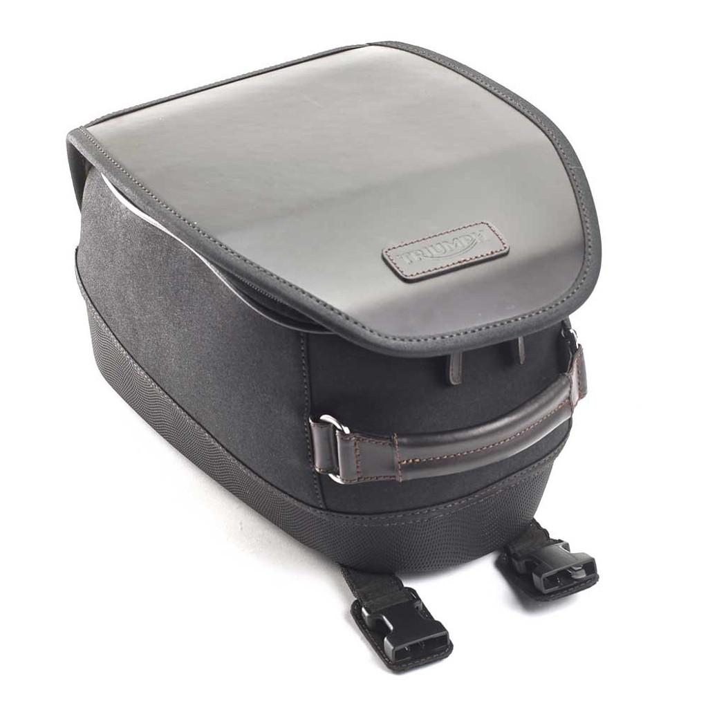 Triumph Black Waxed Cotton Tank Bag