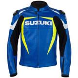 Suzuki MotoGP Perforated Leather Jacket (Blue/Yellow)