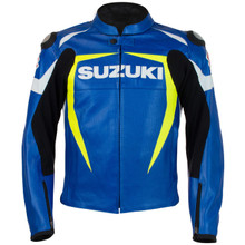 Suzuki MotoGP Perforated Leather Jacket (Blue/Yellow)