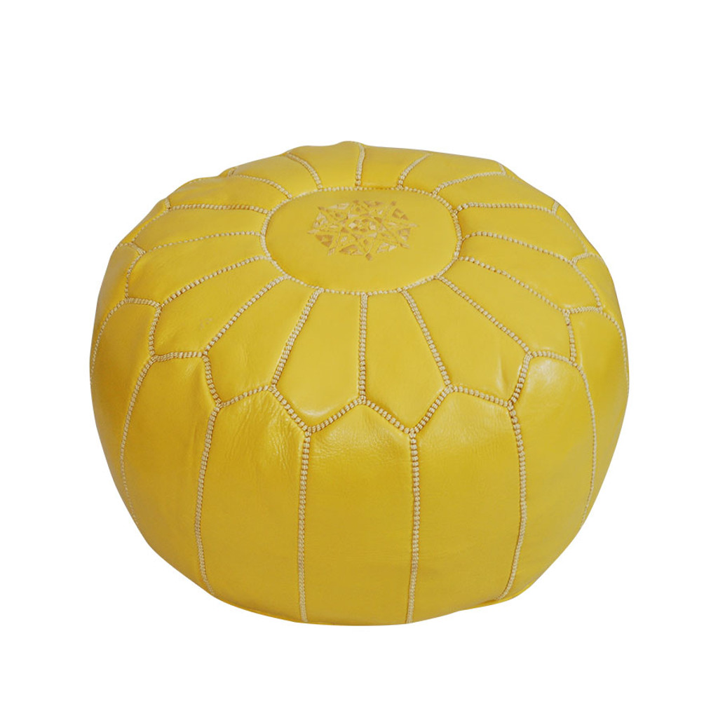 Moroccan Leather Pouf - Yellow