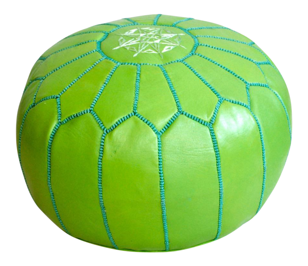 Moroccan Pouf Leather, Green