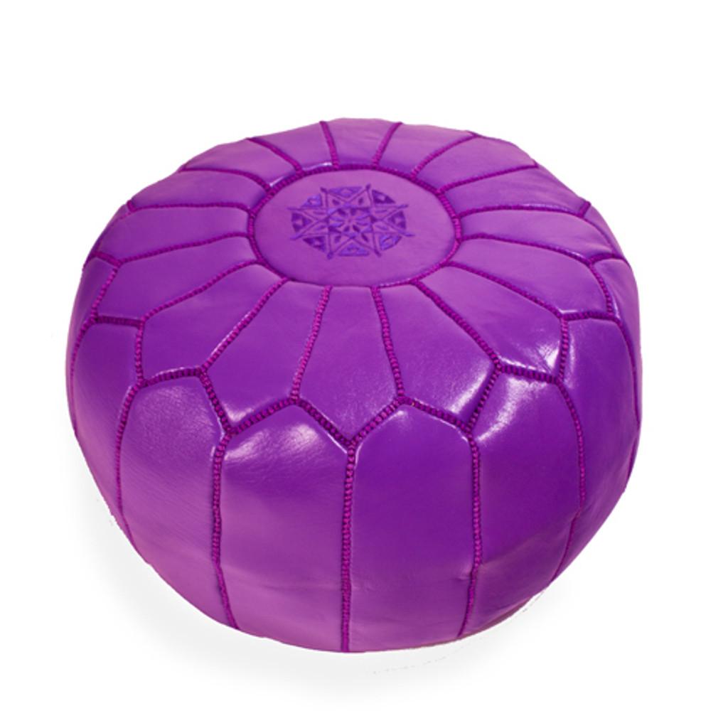 Moroccan Leather Pouf - Purple