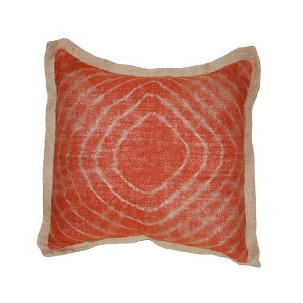 Tie dye orange burlap pillow