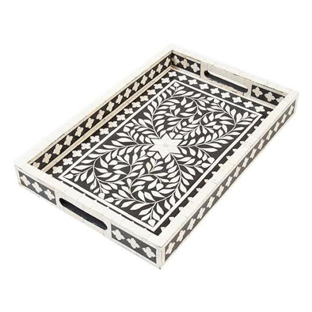 Indian Bone Inlaid Tray, Black