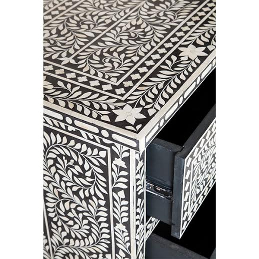 Indian Bone Inlay Black Dresser 3 Drawers
