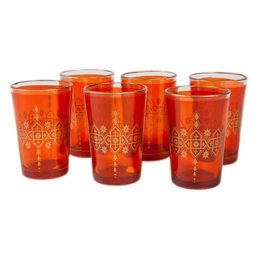 Moroccan Tea Glasses, Orange Set of 6