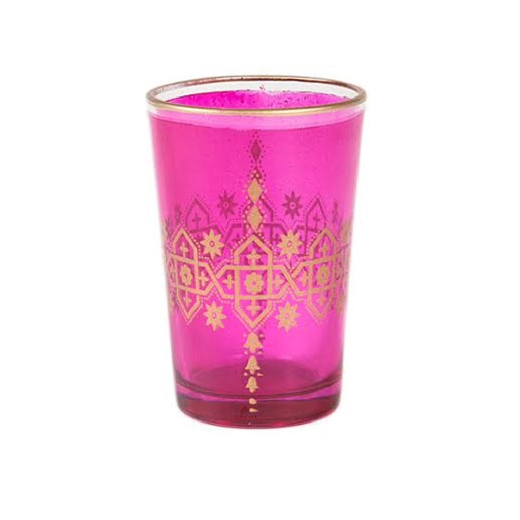 Moroccan Tea Glasses,Pink Set of 6